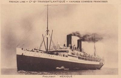 """Le vapeur """"Mexique"""", qui convoya jusqu'en Amérique du sud, en 1939, des centaines de républicains espagnols..."""